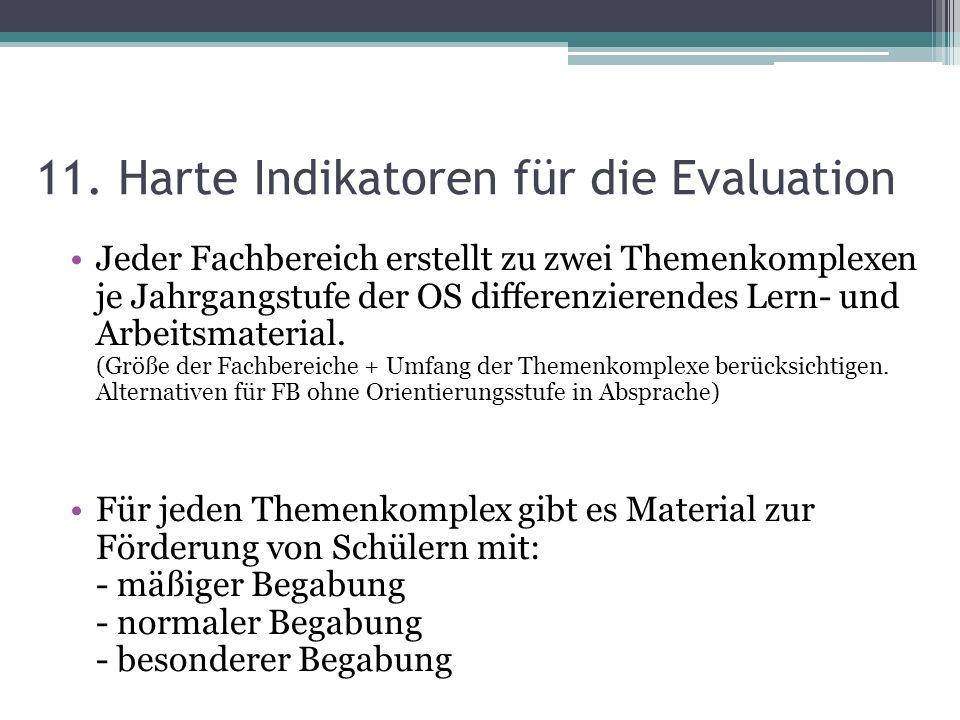 11. Harte Indikatoren für die Evaluation