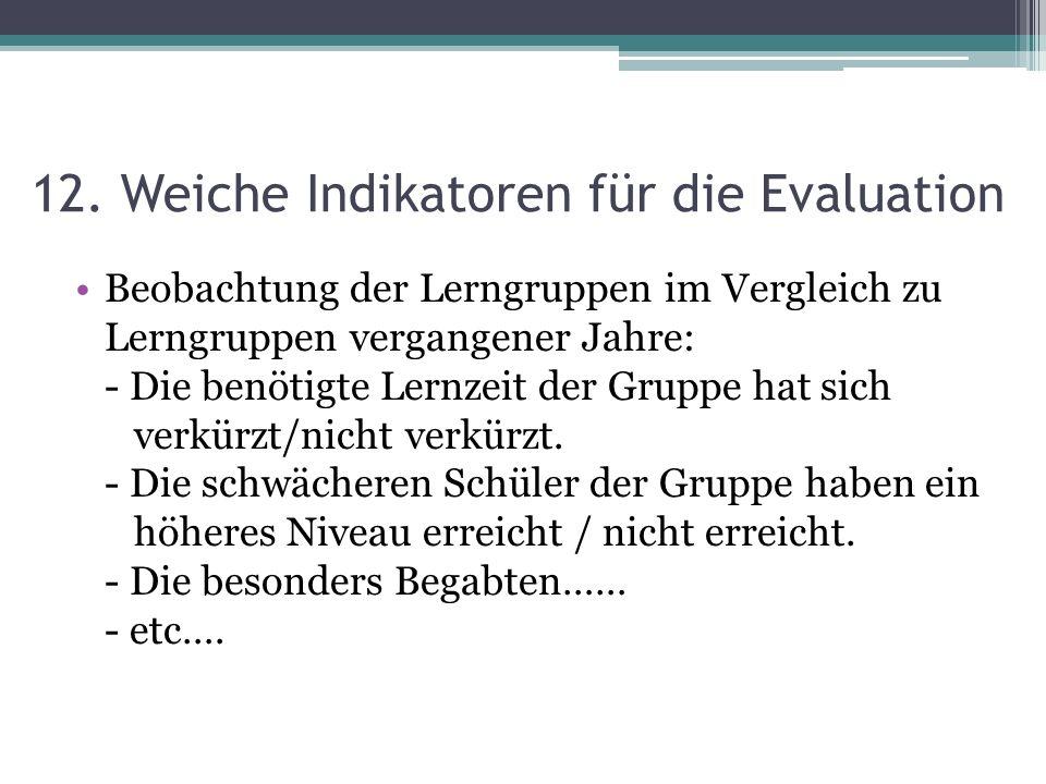 12. Weiche Indikatoren für die Evaluation