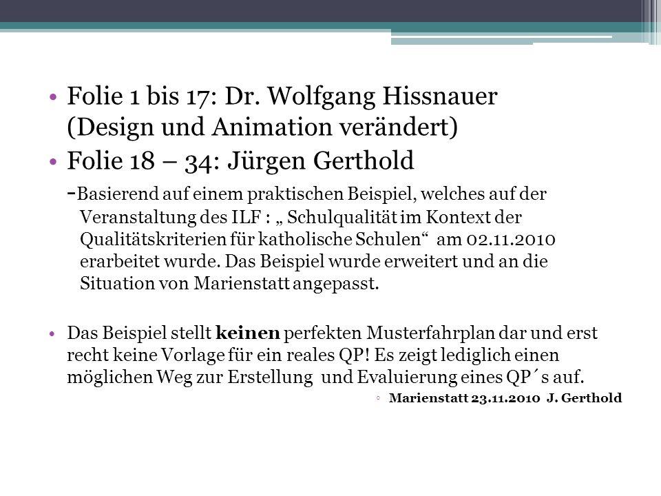 Folie 1 bis 17: Dr. Wolfgang Hissnauer (Design und Animation verändert)