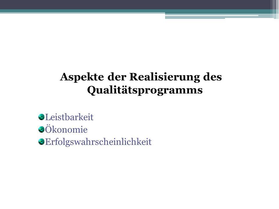 Aspekte der Realisierung des Qualitätsprogramms