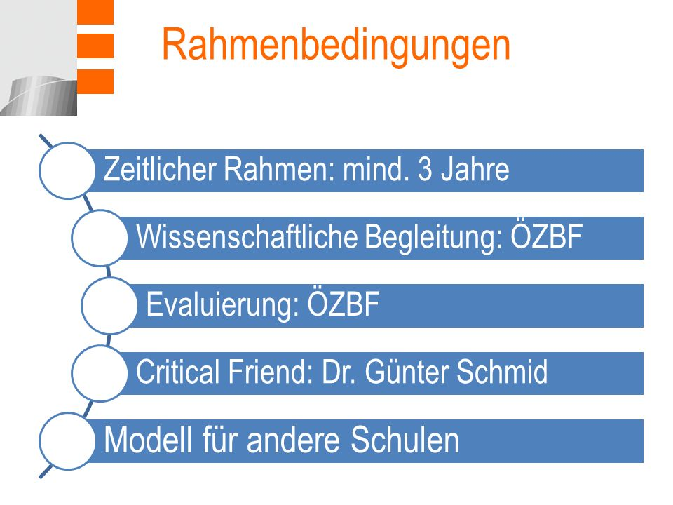 Rahmenbedingungen Modell für andere Schulen