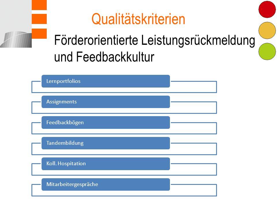 Qualitätskriterien Förderorientierte Leistungsrückmeldung und Feedbackkultur. Lernportfolios. Assignments.