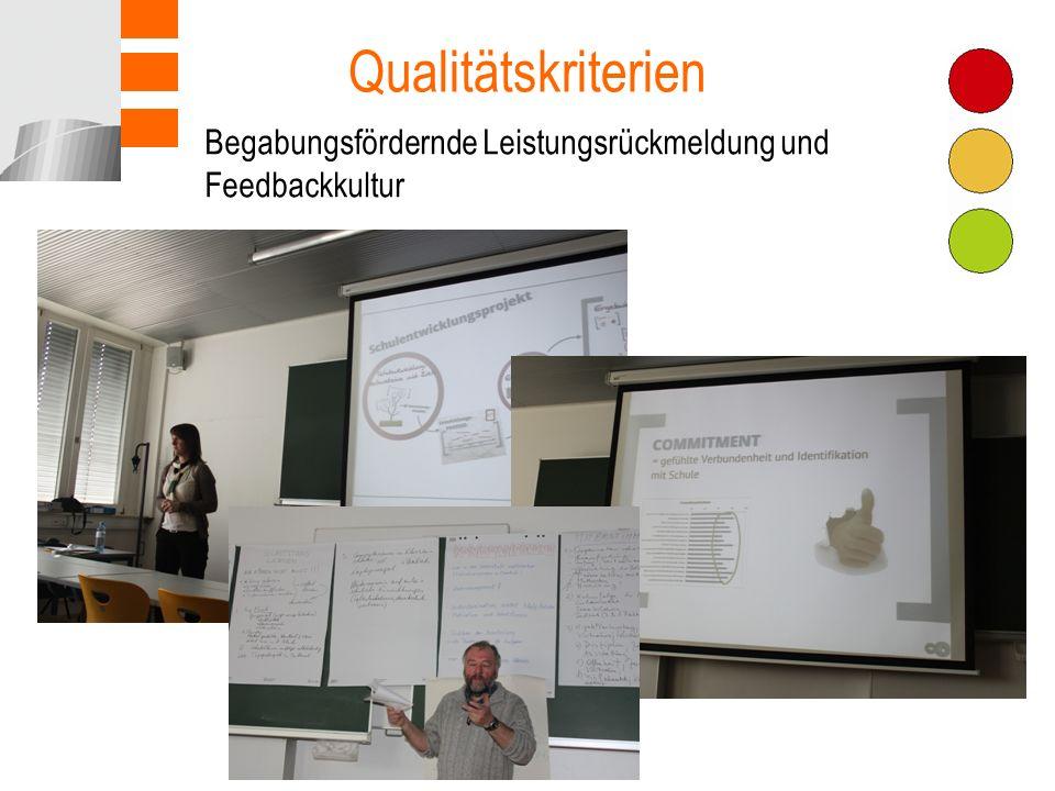 Qualitätskriterien Begabungsfördernde Leistungsrückmeldung und Feedbackkultur Teamarbeit