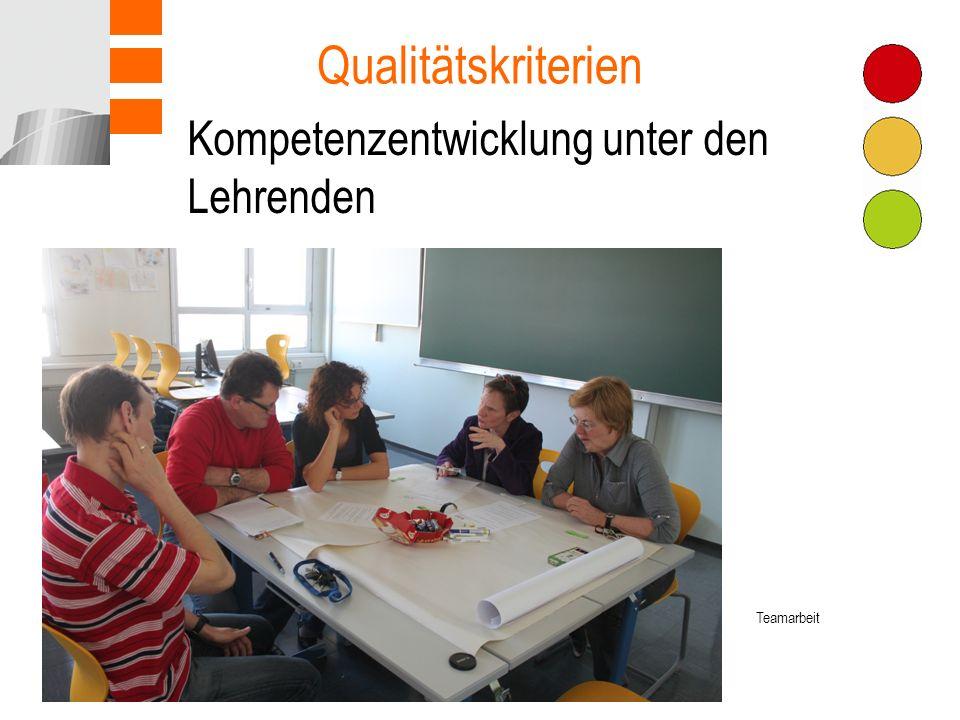 Qualitätskriterien Kompetenzentwicklung unter den Lehrenden Teamarbeit