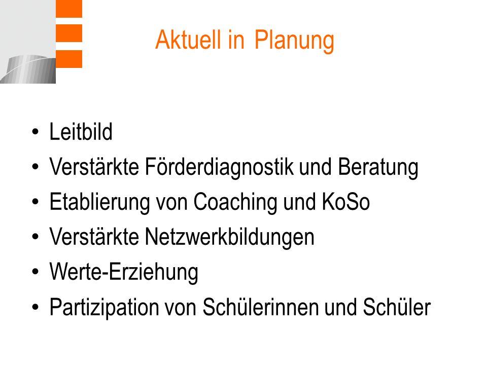 Aktuell in Planung Leitbild Verstärkte Förderdiagnostik und Beratung