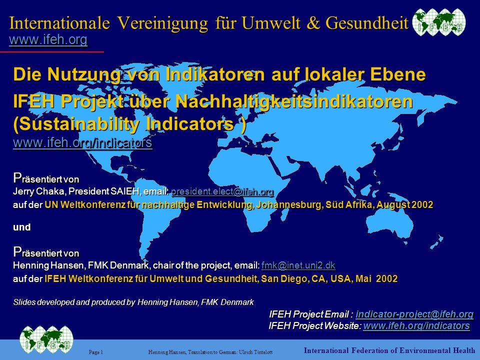 Internationale Vereinigung für Umwelt & Gesundheit www.ifeh.org