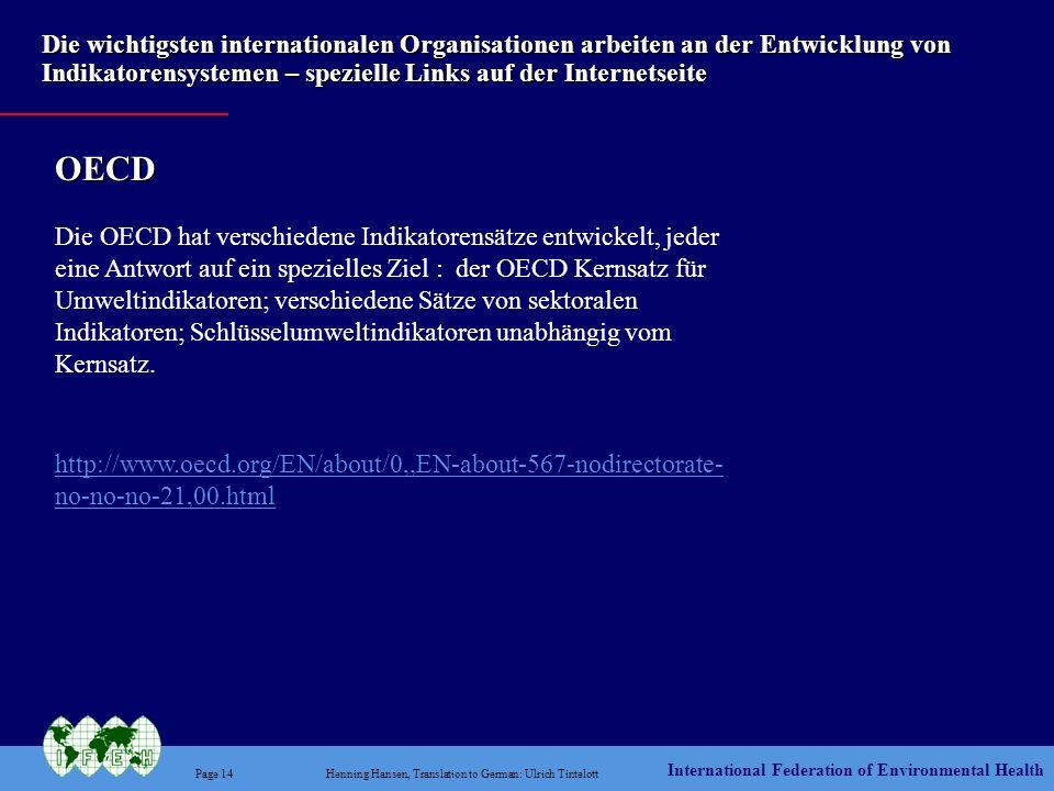 Die wichtigsten internationalen Organisationen arbeiten an der Entwicklung von Indikatorensystemen – spezielle Links auf der Internetseite