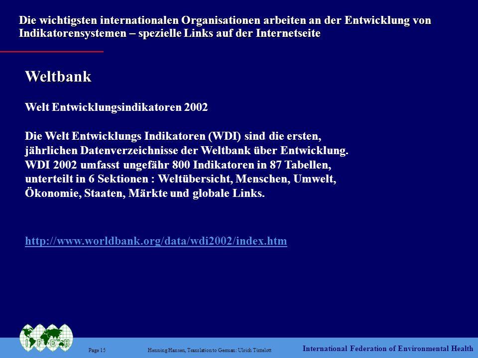 Weltbank Welt Entwicklungsindikatoren 2002