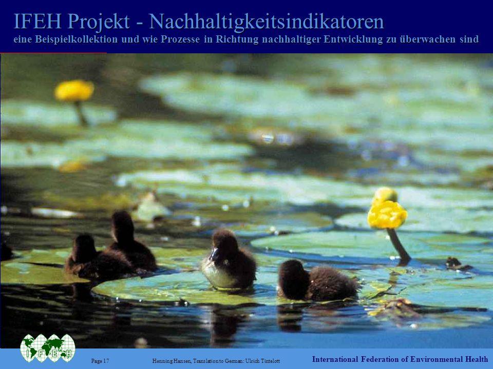 IFEH Projekt - Nachhaltigkeitsindikatoren eine Beispielkollektion und wie Prozesse in Richtung nachhaltiger Entwicklung zu überwachen sind