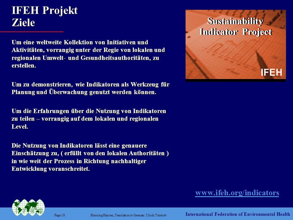IFEH Projekt Ziele www.ifeh.org/indicators