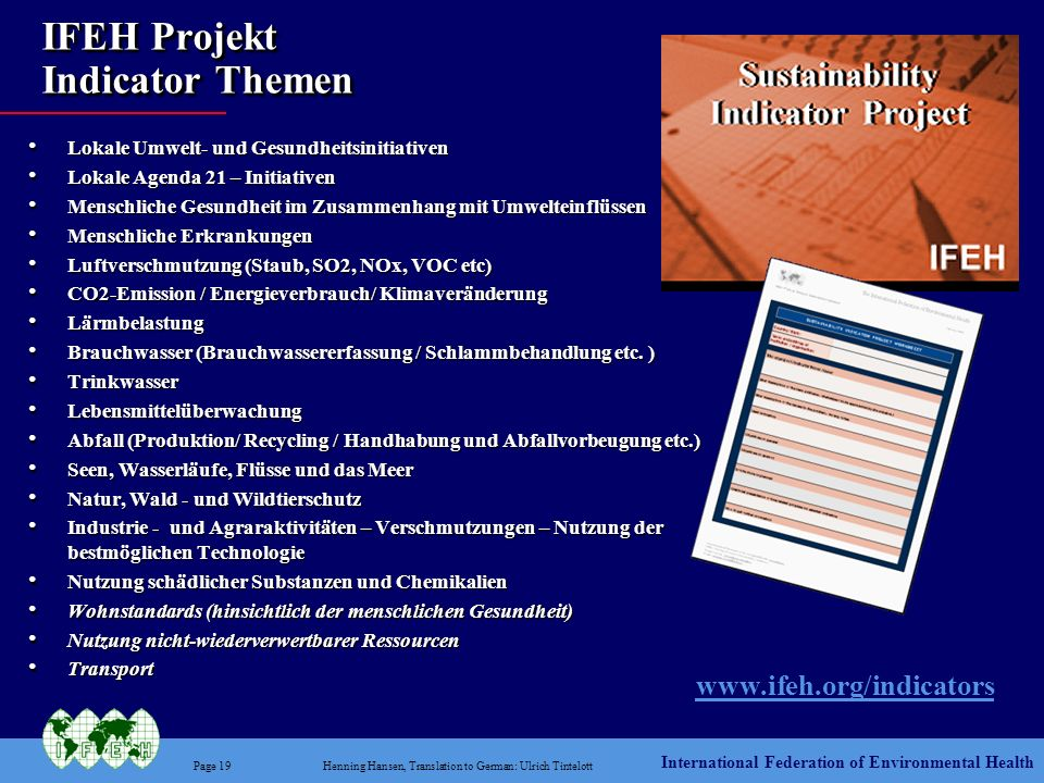 IFEH Projekt Indicator Themen