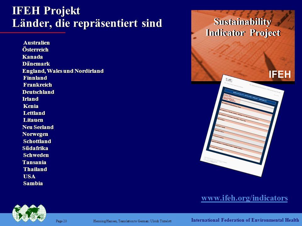 IFEH Projekt Länder, die repräsentiert sind
