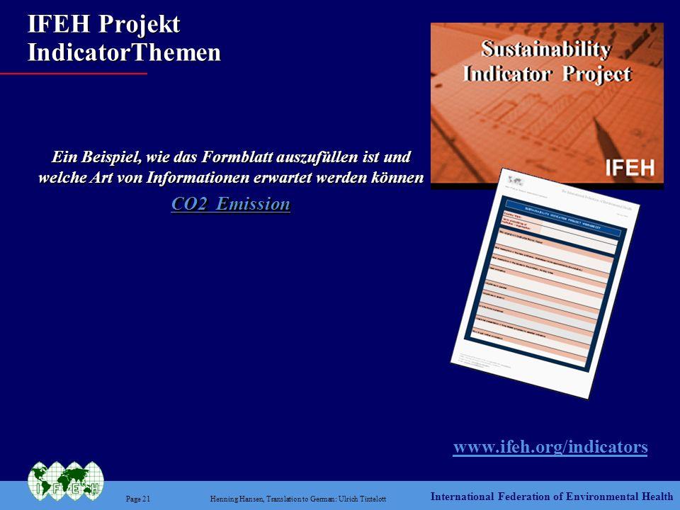 IFEH Projekt IndicatorThemen