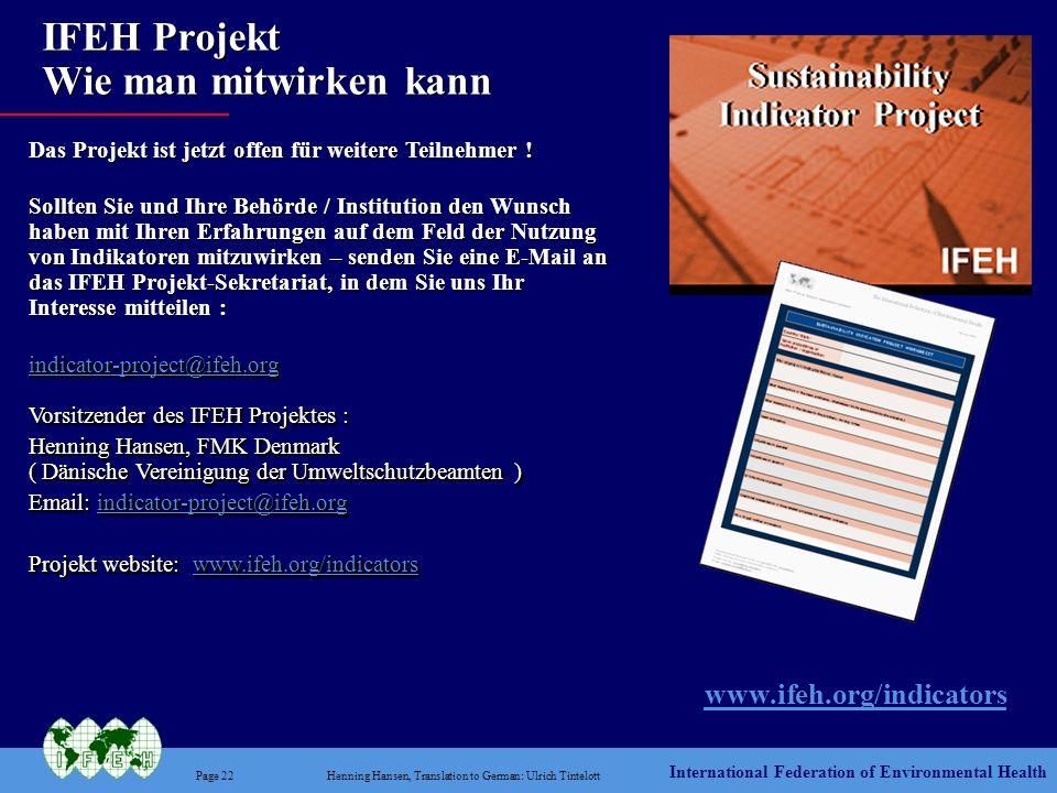 IFEH Projekt Wie man mitwirken kann