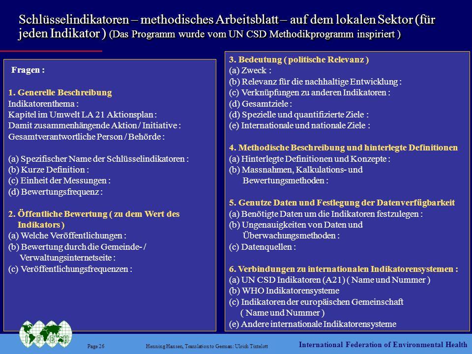 Schlüsselindikatoren – methodisches Arbeitsblatt – auf dem lokalen Sektor (für jeden Indikator ) (Das Programm wurde vom UN CSD Methodikprogramm inspiriert )