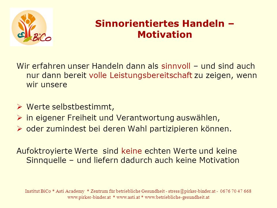 Sinnorientiertes Handeln – Motivation