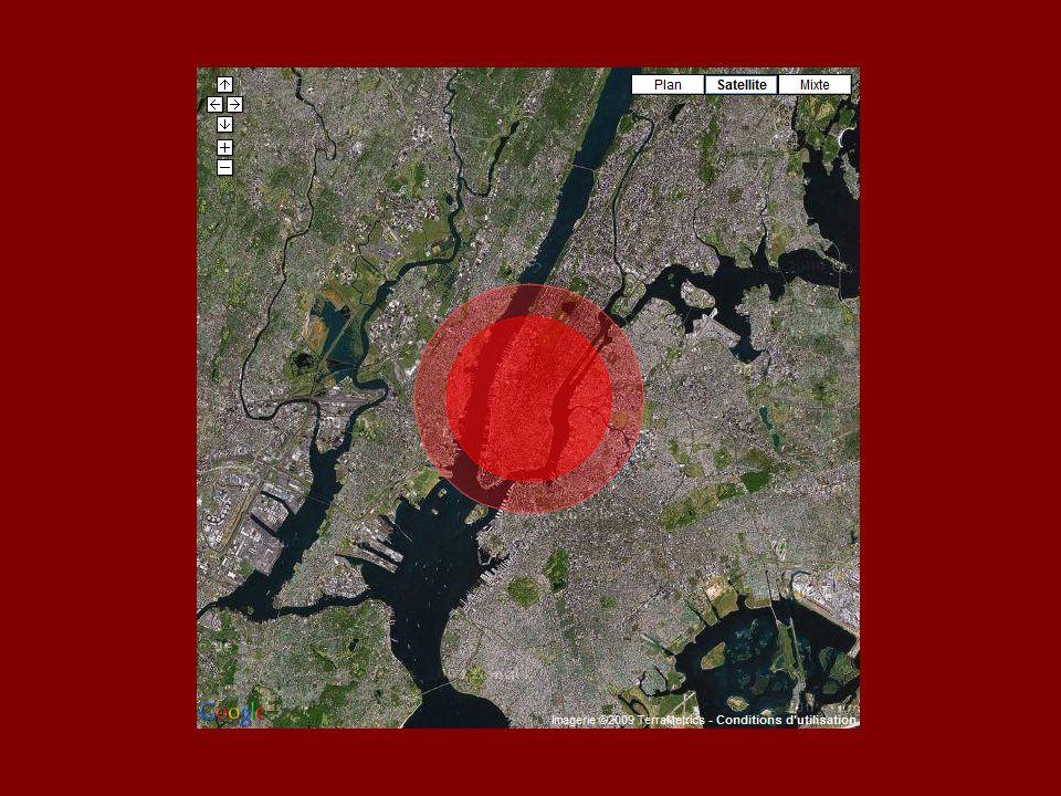 Im Umkreis von 6,5 km würde die Druckwelle Drücke von über 170