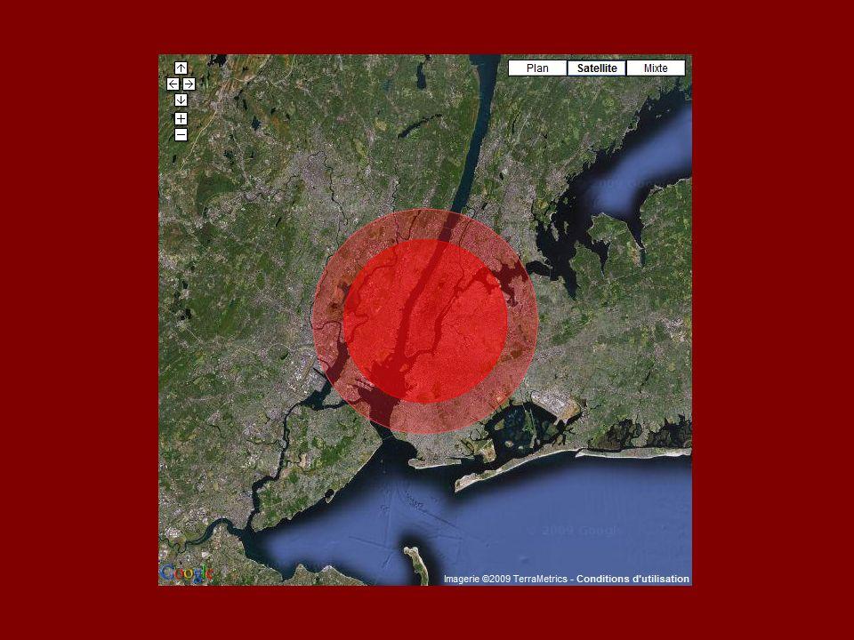 Und im Umkreis von 16 km würde die Druckwelle Drücke von über 48