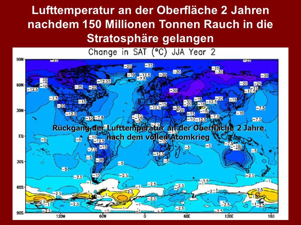 Lufttemperatur an der Oberfläche 2 Jahren nachdem 150 Millionen Tonnen Rauch in die Stratosphäre gelangen