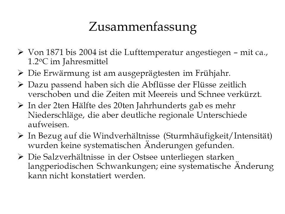 Zusammenfassung Von 1871 bis 2004 ist die Lufttemperatur angestiegen – mit ca., 1.2oC im Jahresmittel.