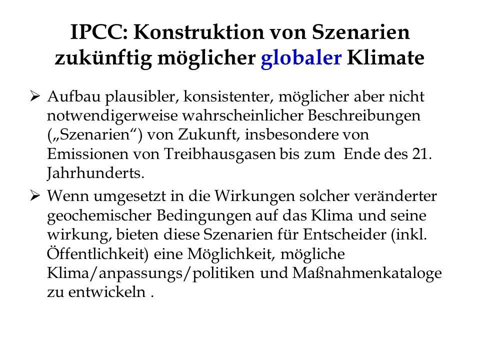 IPCC: Konstruktion von Szenarien zukünftig möglicher globaler Klimate