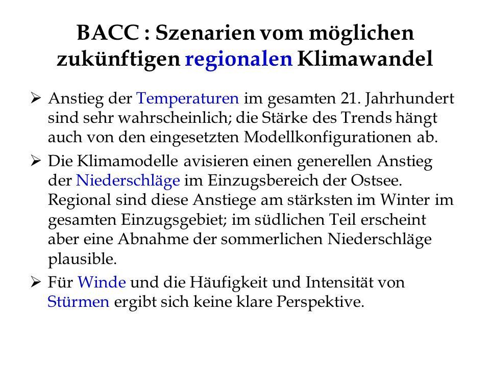 BACC : Szenarien vom möglichen zukünftigen regionalen Klimawandel