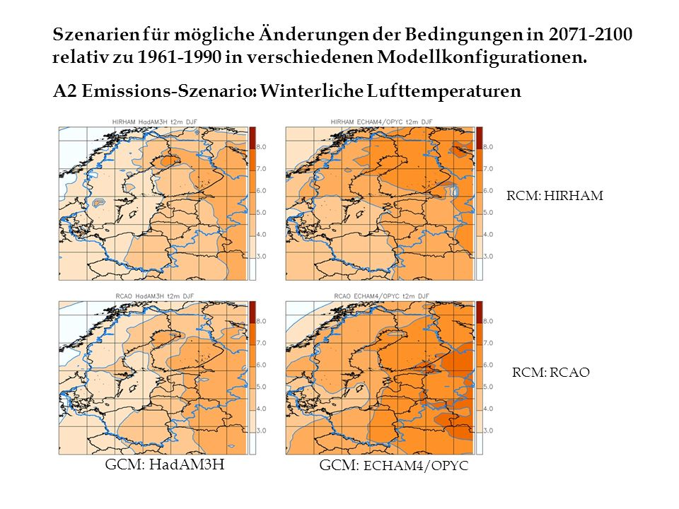 A2 Emissions-Szenario: Winterliche Lufttemperaturen