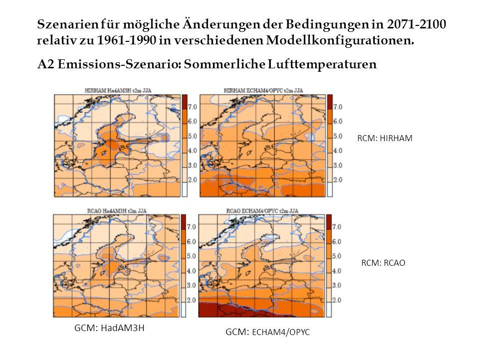 A2 Emissions-Szenario: Sommerliche Lufttemperaturen