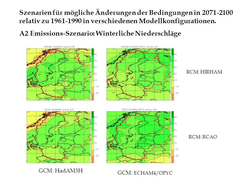 A2 Emissions-Szenario: Winterliche Niederschläge