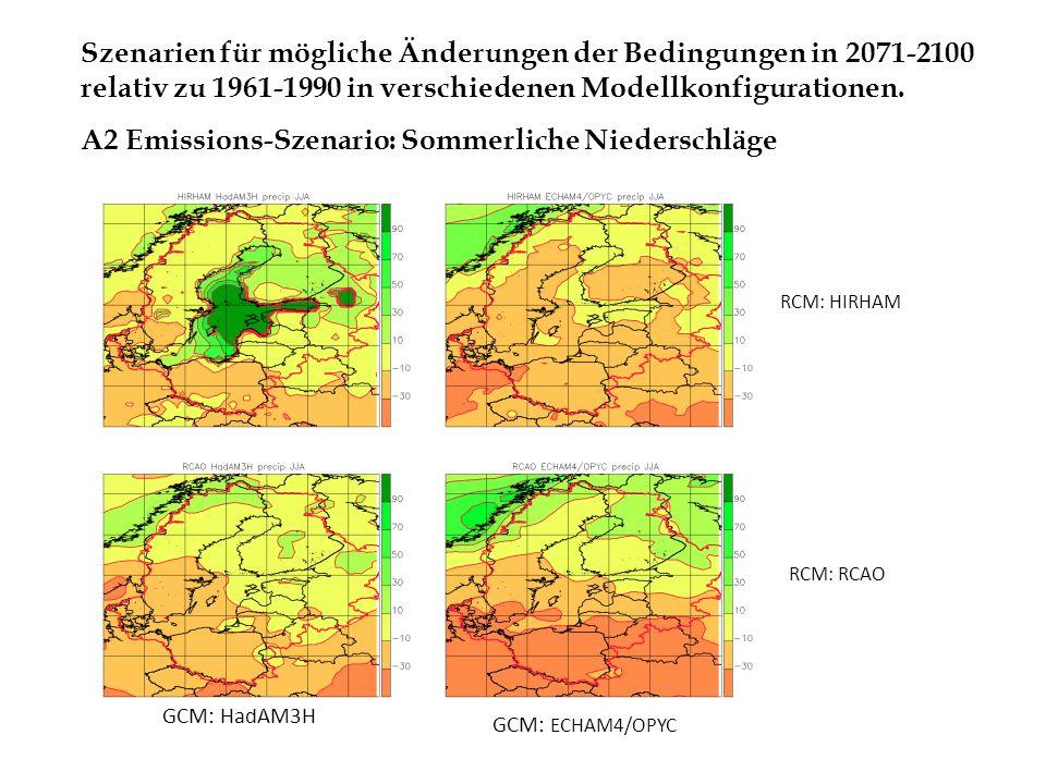 A2 Emissions-Szenario: Sommerliche Niederschläge