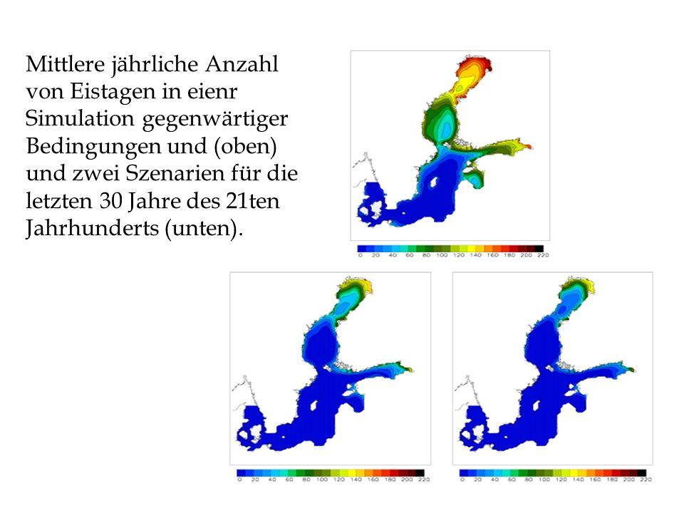 Mittlere jährliche Anzahl von Eistagen in eienr Simulation gegenwärtiger Bedingungen und (oben) und zwei Szenarien für die letzten 30 Jahre des 21ten Jahrhunderts (unten).
