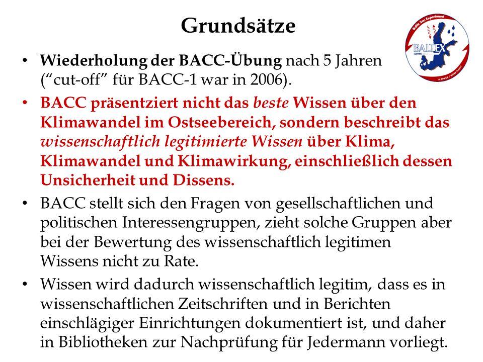 Grundsätze Wiederholung der BACC-Übung nach 5 Jahren ( cut-off für BACC-1 war in 2006).