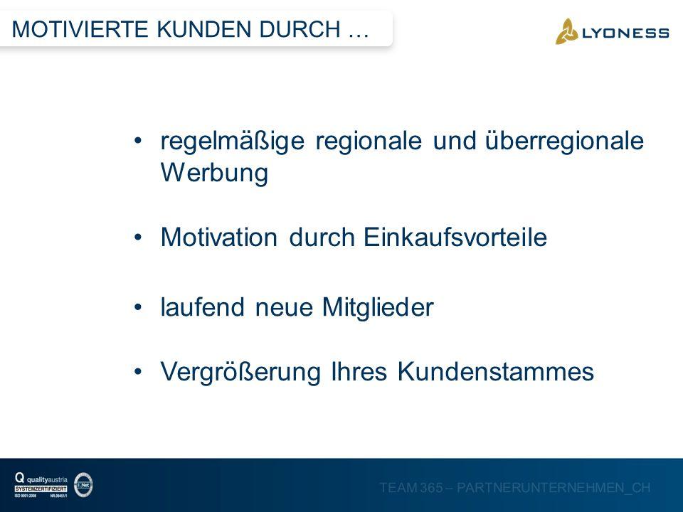 regelmäßige regionale und überregionale Werbung
