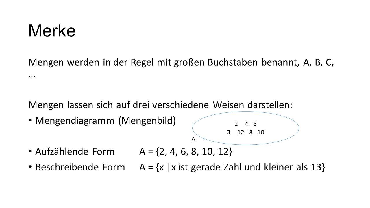 MerkeMengen werden in der Regel mit großen Buchstaben benannt, A, B, C, … Mengen lassen sich auf drei verschiedene Weisen darstellen: