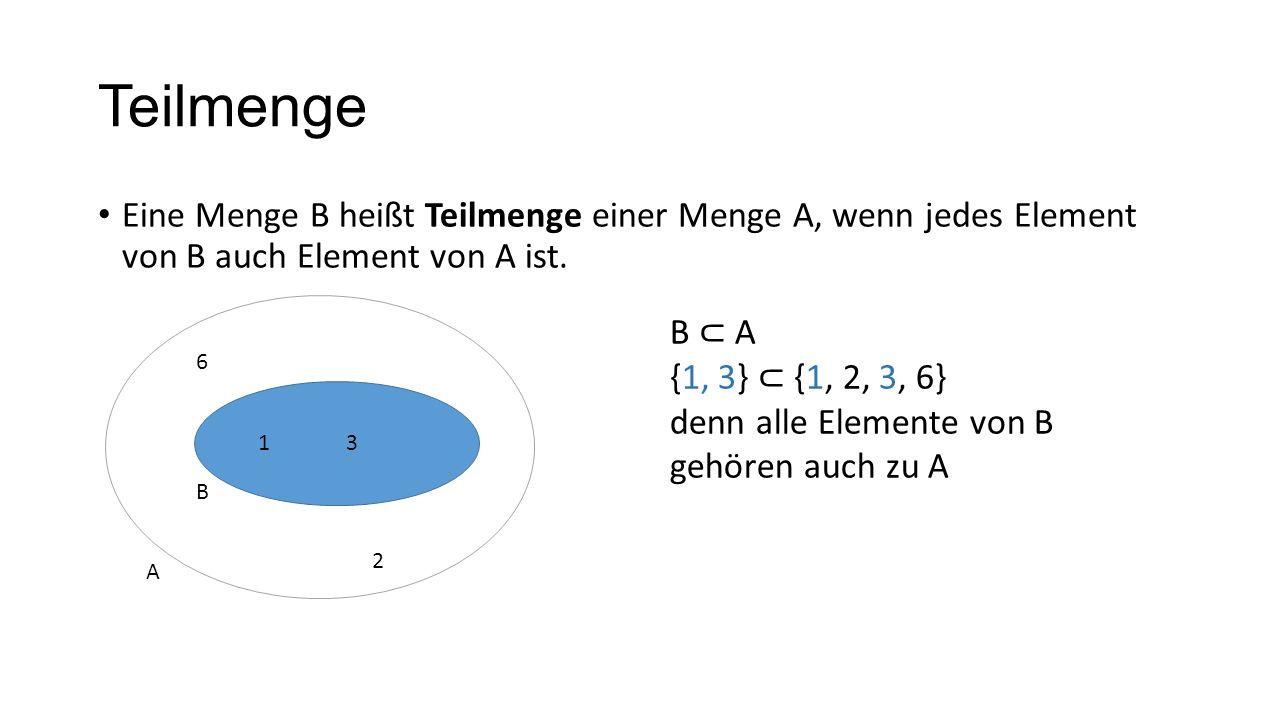 TeilmengeEine Menge B heißt Teilmenge einer Menge A, wenn jedes Element von B auch Element von A ist.