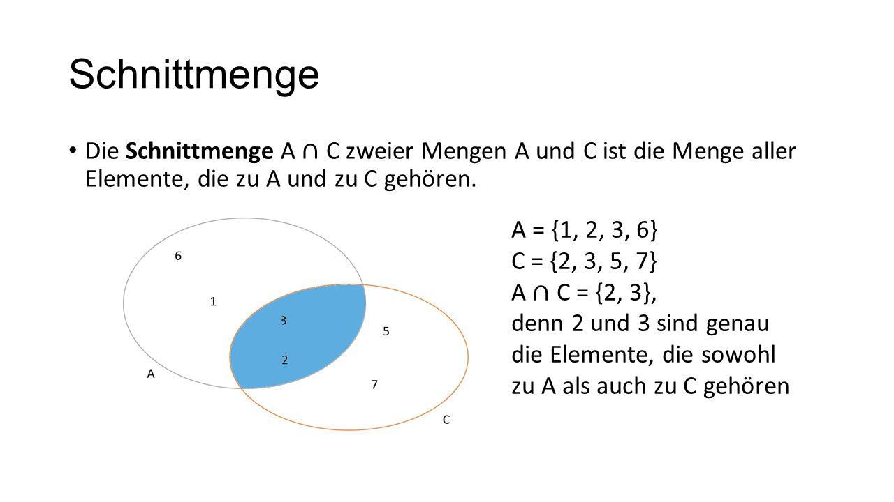 SchnittmengeDie Schnittmenge A ∩ C zweier Mengen A und C ist die Menge aller Elemente, die zu A und zu C gehören.