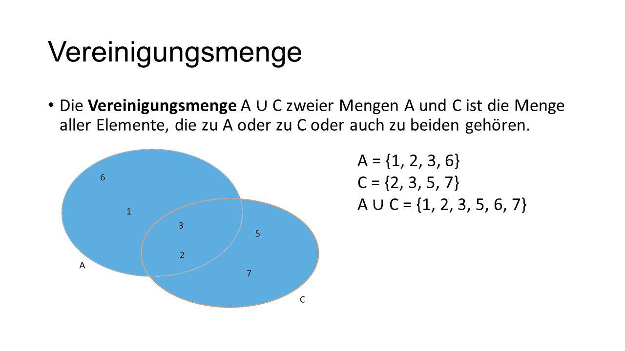 VereinigungsmengeDie Vereinigungsmenge A ∪ C zweier Mengen A und C ist die Menge aller Elemente, die zu A oder zu C oder auch zu beiden gehören.
