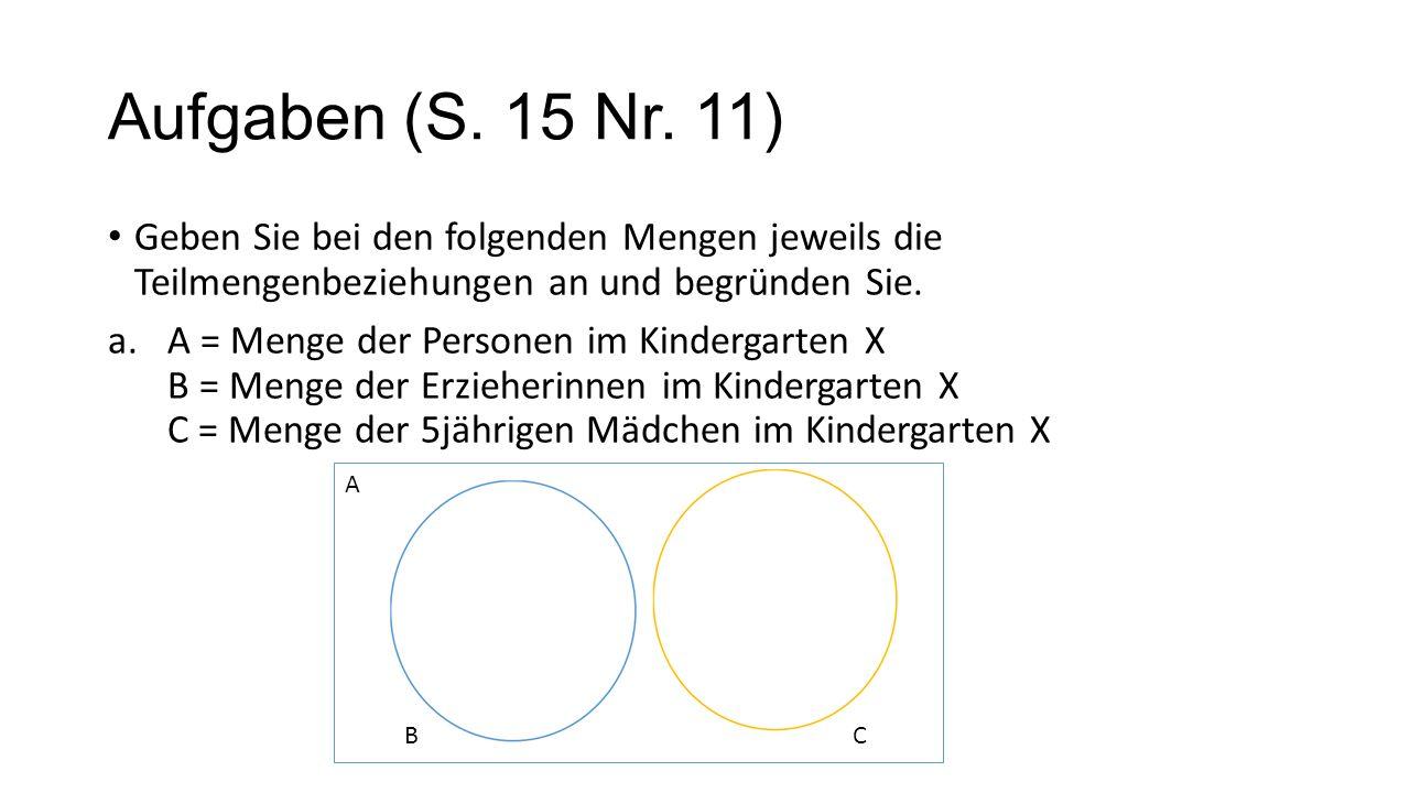 Aufgaben (S. 15 Nr. 11)Geben Sie bei den folgenden Mengen jeweils die Teilmengenbeziehungen an und begründen Sie.
