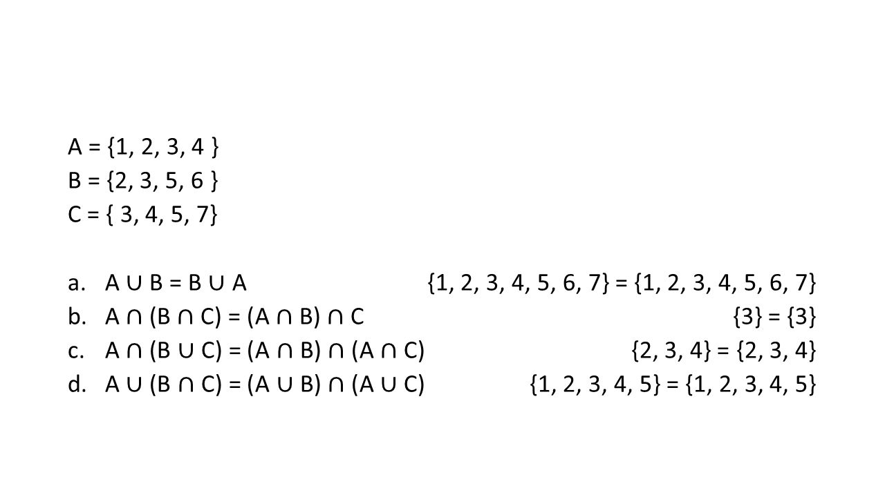 A = {1, 2, 3, 4 } B = {2, 3, 5, 6 } C = { 3, 4, 5, 7} A ∪ B = B ∪ A {1, 2, 3, 4, 5, 6, 7} = {1, 2, 3, 4, 5, 6, 7}