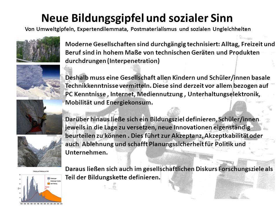 Neue Bildungsgipfel und sozialer Sinn Von Umweltgipfeln, Expertendilemmata, Postmaterialismus und sozialen Ungleichheiten