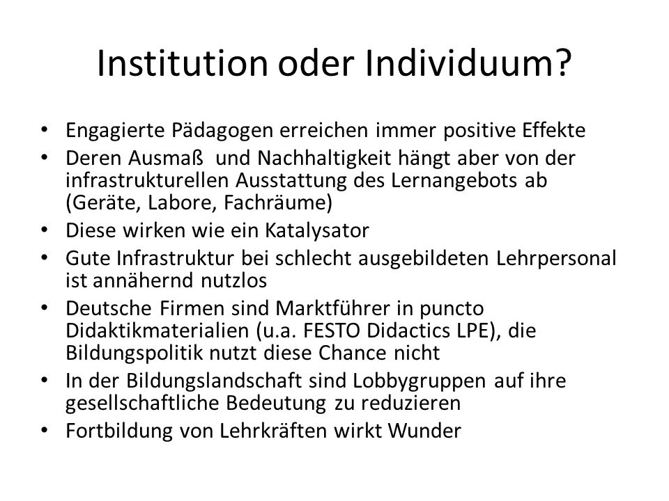 Institution oder Individuum