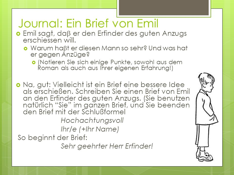 Journal: Ein Brief von Emil