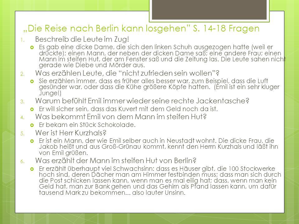 """""""Die Reise nach Berlin kann losgehen S. 14-18 Fragen"""