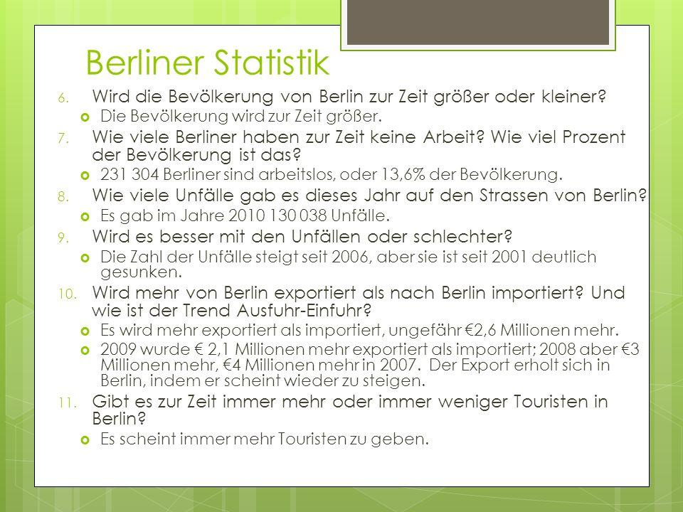 Berliner Statistik Wird die Bevölkerung von Berlin zur Zeit größer oder kleiner Die Bevölkerung wird zur Zeit größer.