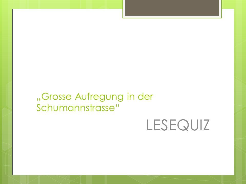 """""""Grosse Aufregung in der Schumannstrasse"""