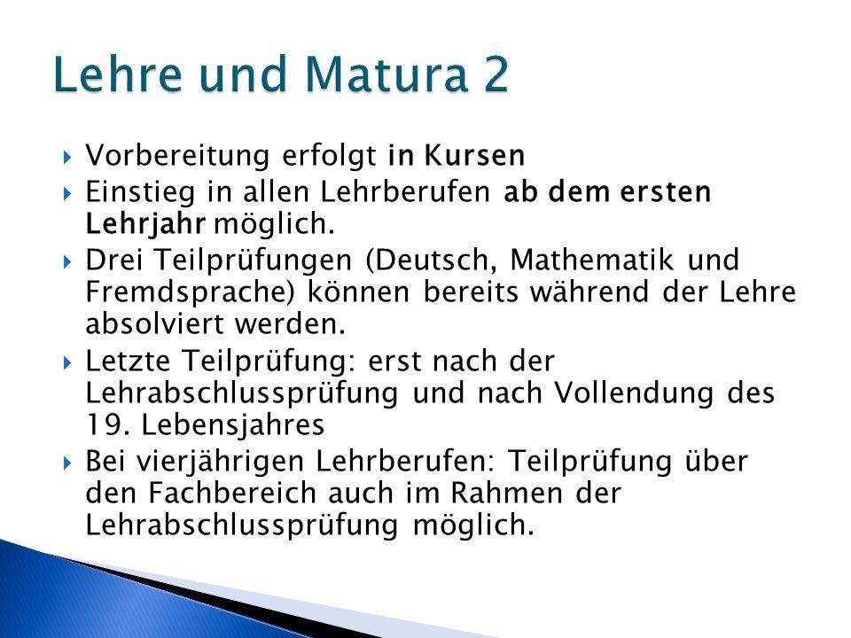 Lehre und Matura 2 Vorbereitung erfolgt in Kursen