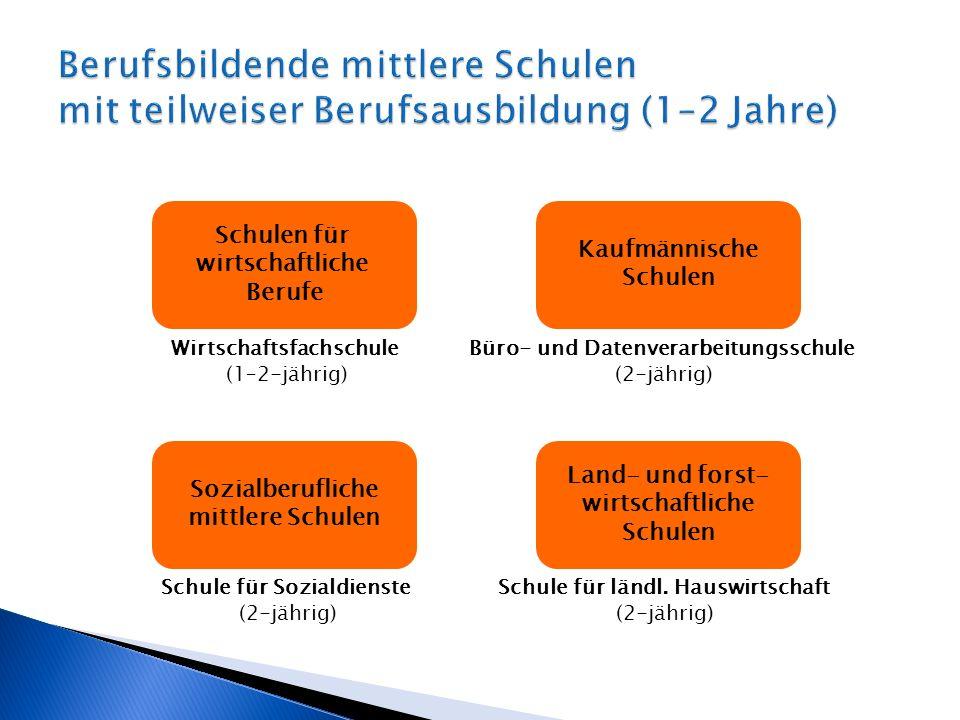 Berufsbildende mittlere Schulen mit teilweiser Berufsausbildung (1–2 Jahre)