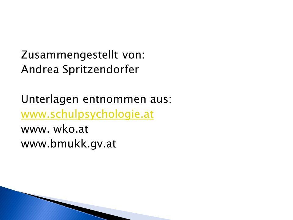 Zusammengestellt von: Andrea Spritzendorfer Unterlagen entnommen aus: www.schulpsychologie.at www.