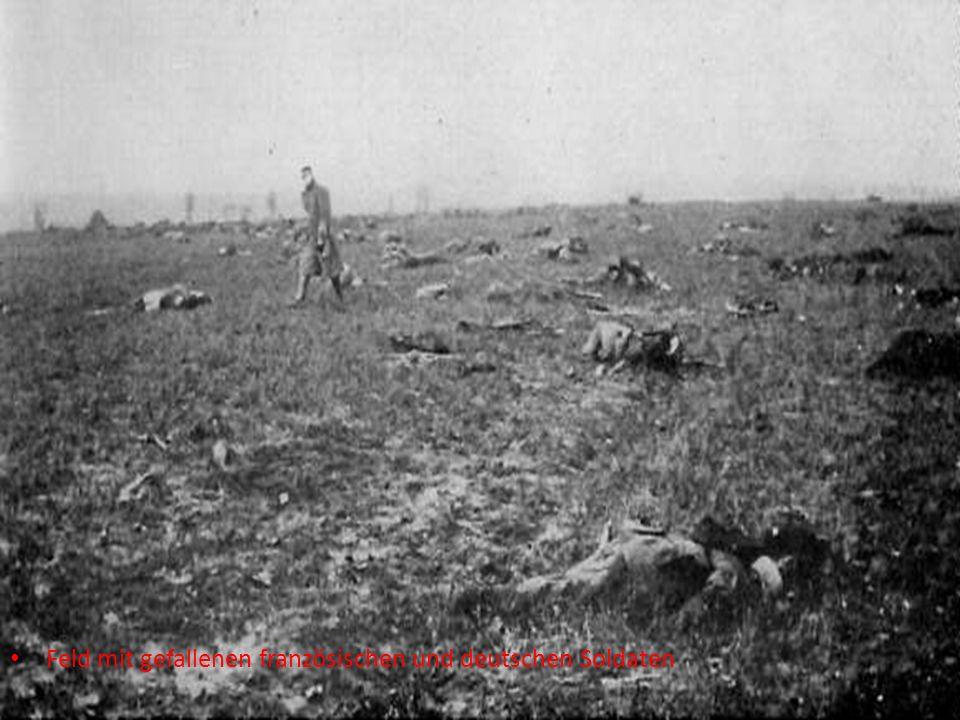 Feld mit gefallenen französischen und deutschen Soldaten
