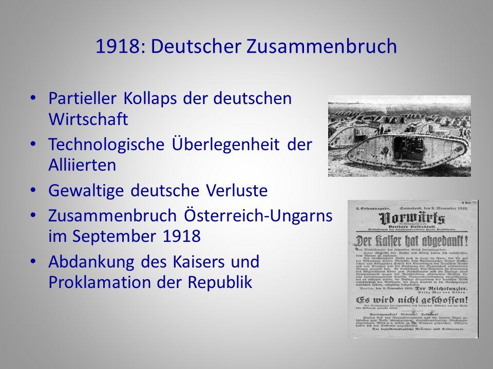 1918: Deutscher Zusammenbruch